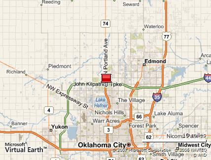 Map of Crossings Community Church in Oklahoma City