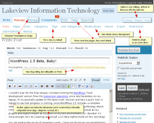 An annotated version of the WordPress 2.5 Beta Draft Edit Screen